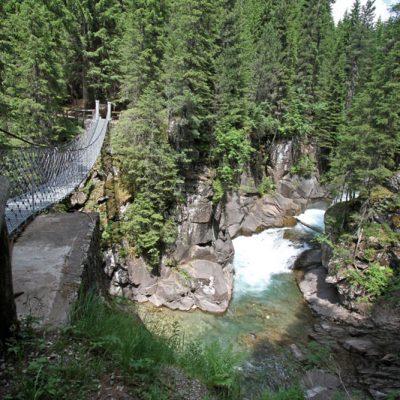 Il ponte sospeso lungo il sentiero Marciò nel Parco Paneveggio